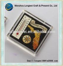 blank acrylic fridge magnet with thermometer/frdge magnet paper insert/square transparent fridge magnet