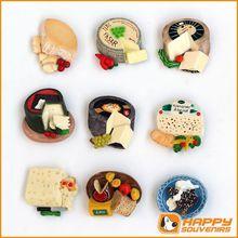 Custom 3D cheese shaped resin fridge magnet for wholesale