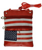 Flag Printing Leather PASSPORT ID Holder Neck Travel Pouch Wallet Cellphone Holder Secure