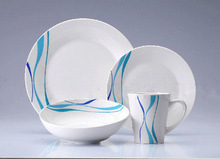 16pcs blue dot porcelain dinner set , blue white chinese porcelain