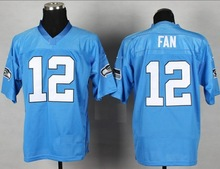 Seattle Fan #12 Light Blue American Football Elite Jerseys