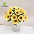 18 cabeças de girassol bouquet de flores artificiais fábrica na china
