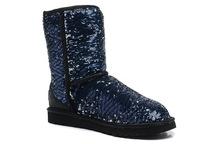 women snow boots with faux suede + wash gold upper, EVA out sole