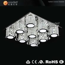 Nouveau Design Chrome K9 cristal LED la lumière de plafond suspendu OM88149-9