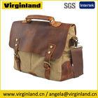 6807 Professional Vintage Cool Khaki Canvas Leather Trim Laptop Business Briefcase Bag For Men