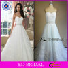 EDW639 China Supply Real Sample Lace Appliqued Crystal Belt Alibaba Wedding Dress