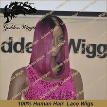2014 new design grade 5A purple color human hair brazilian virgin hair yaki u-part wig