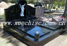 Hot sale shanxi black granite big headstones, black granite tombstone