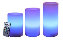 REAL WAX LED CANDLE 3PCS/SET COLOUR CHANGING WITH 18BUTTOM REMOTE CONTROL