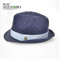 Custom blue fedora hats straw