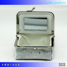 Popular competitive price soft pu leather cosmetic bag with mirror
