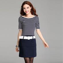 W1077 autumn 2014 belt fashion one-piece stripe off shoulder dress