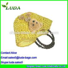 Luda Straw Bag Cute Bear Dyed Yellow Corn Husk Straw Tote Bag