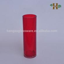 32cm Red Color Glass Cylinder Crackle Vases