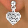 "Lead & Nickel Free ""Strength Courage Faith"" Heart Charm Earring"