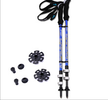 2014 Latest hiking climbing stick retractable 130cm alpenstock aluminum adjustable folding cane Factory Direct
