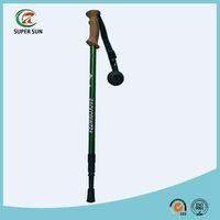 3 sections Cork handle telescopic aluminum 6061 trekking stick/hiking stick/alpenstock