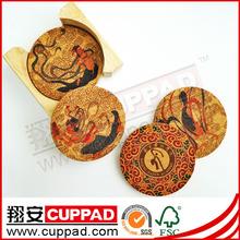 OEM animals printing cork coasters,cork palcemat