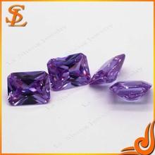 Rectangle stones purple cubic zircon gems price european cutting