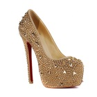 CATWALK-S070312 Hot selling sexy high heel platform shoes for women champangne rhinestone gold studs lady shoes in 2014