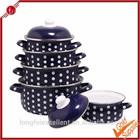 High-grade luxury black color white point porcelain enamel cast iron cookware set