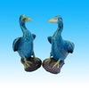 Chinese Antique Pottery Animals Blue Mandrin Duck