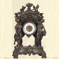 Desktop Decor Antique Bronze Clock with Figure Sculpture