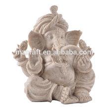 New 2014 Sand stone Indian Elephant God Ganesha buddha statue for office home decoration 114376