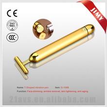 Golden vibration massage pen beauty bar for face lifting