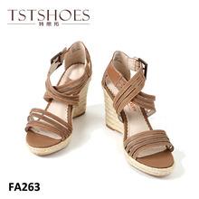 2014 fashion hottest elegant women PU high heel wedge sandals shoes with hemp rope platform wedge sandals