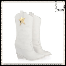 fashion five-pointed star white thick rubber wadge boots slip-on pointed toe cowboy boots casual snow woman boots