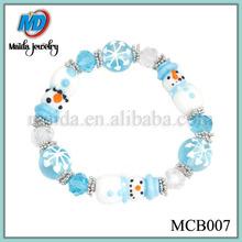 Handmade Blue Glass Snowman Christmas Style glass bead bracelet MCB007