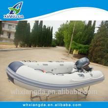 Fiberglass rigid inflatable boats with folding transom