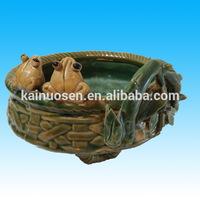 Majolica Pottery Two Frog Green Planter Pot