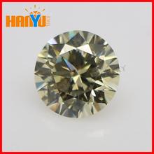 Synthetic diamond light yellow round cubic zirconia loose small gemstones in stock