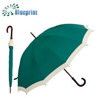 daily need product rain gear wood handle green rain umbrella
