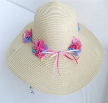 Supply pure color sun hats floret decorated according to the van