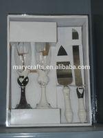 Porcelain bride and groom wedding cake knife set