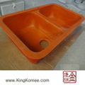 Made in china vermelho brilhante pias de mármore cultivadas