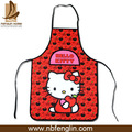 China Manufacturers 100%Cotton Kitchen Cooking Red Cute Lady Cat Apron For Kids