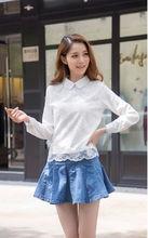 2014 vestido de moda mujer camisas blusa de organza blanco camisa corta de manga larga blusas de cuello