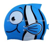 sun protection silicone design your own swim cap for kids,printable waterproof fish shape swim cap UN-0605