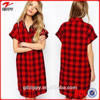 2014 Latest Fashion Lady Shirt Dress/Plaid Shirt Dress/Women Long Shirt