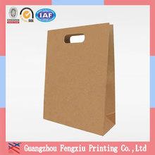 China Factory Luxury Recycled Brown Die Cut Handle Paper Bag