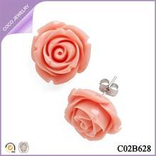 Daily wear pink resin flower earrings
