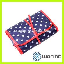 2014 fashion custom satin material pink color cosmetic bag
