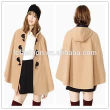 2014 de invierno de lana de camello capa con capucha chaqueta para las mujeres lc141