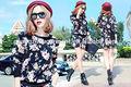 2015 yeni kış kadın moda eşofman, uzun- kollu çiçek top+shorts hoodie seti