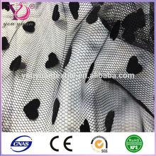 Flock heart tulle netting fabric for women dress sheer tulle