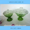 cor clara verde bonito patterne pequeno pedestal com tampa de vidro frasco de doce